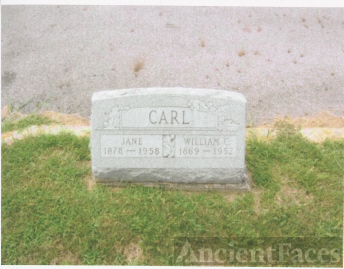 The Tombstone of William C. Carl (1 Aug 1869-1952) and His Third Wife, Jane (1878-1958)