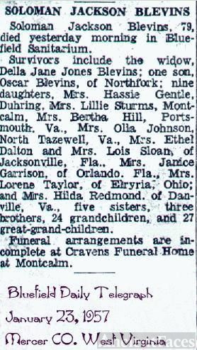 OBITUARY For Solomon Jackson Blevins
