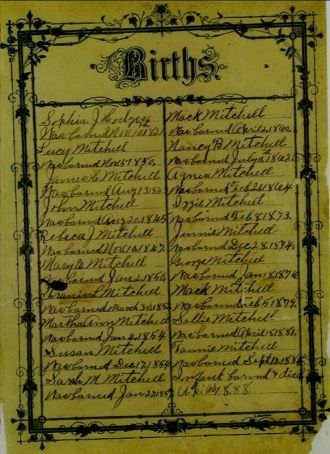 Births page from Mitchell family bible