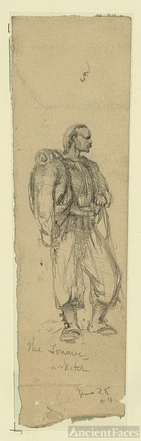 Edwin Forbes drawing of a Zouave soldier, Civil War