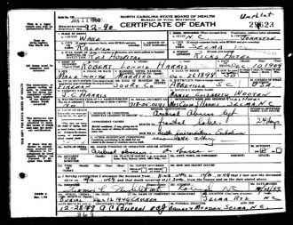 Robert Lonnie Harris Death Certificate