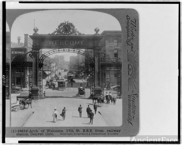Arch of Welcome, 17th St. E.S.E. from railway station,...