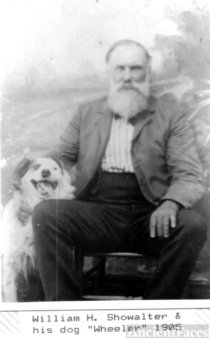 Wm Henry Showalter w/ dog, Wheeler
