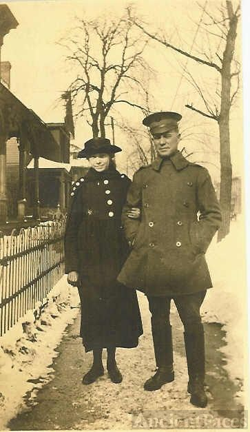 Unknown Young Lady With Lieutenant H. Bridwell