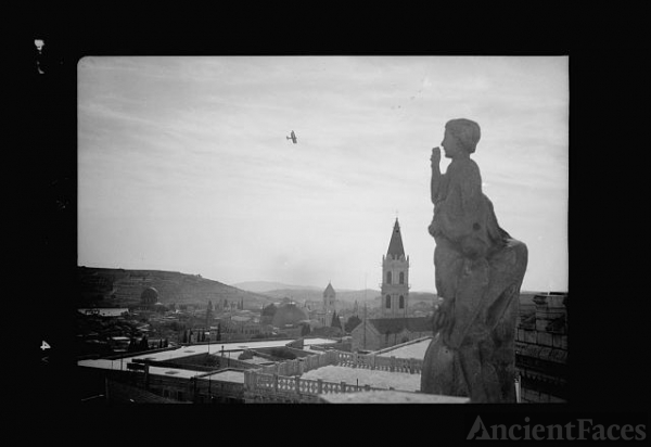 Jerusalem from roof of Notre Dame with R.A.F. plane in...