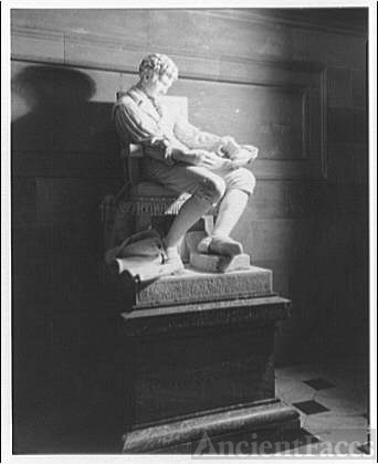 Statues and sculpture. Robert Fulton, full figure marble,...