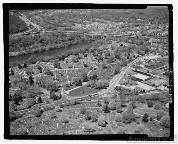 AERIAL VIEW, LAUREL HILL CEMETERY, LOOKING NORTHWEST FROM...