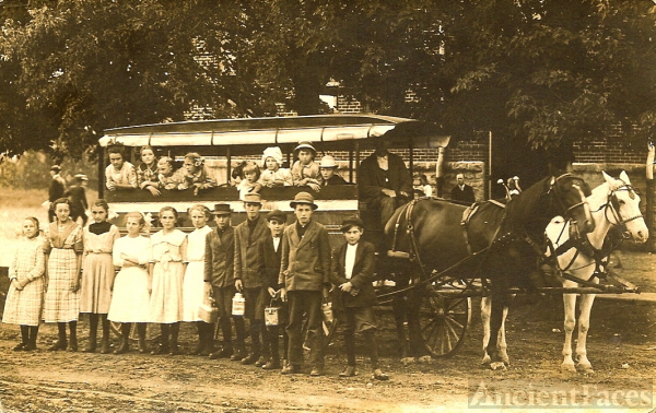 Horse drawn school bus 1912-1913