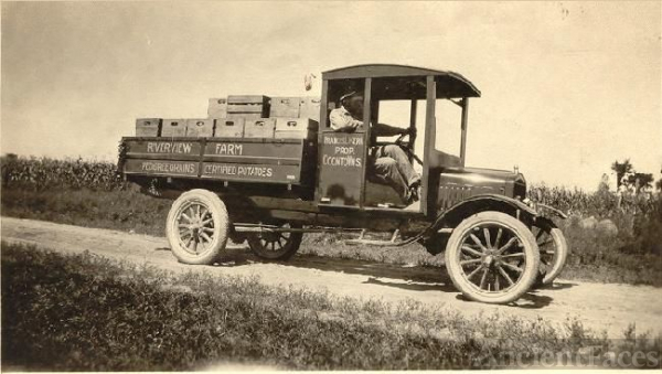 Francis L. Kerr and potato truck, 1920