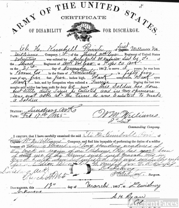 Discharge Papers for Elias Harris Kimbrell