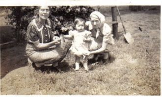 Unknown grandmothers with grandchild