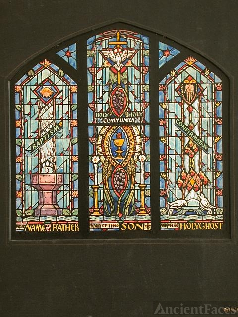 [Design drawing for stained glass window with text...