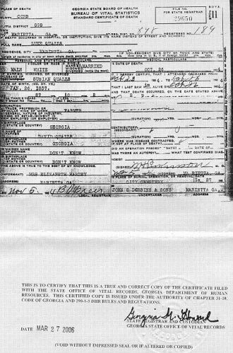 Death Certificate, Luke Qualls