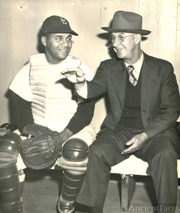 Roy Campanella and Burt Shotton - Brooklyn Dodgers