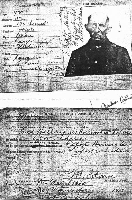 Work Permit for Fredrick Halling