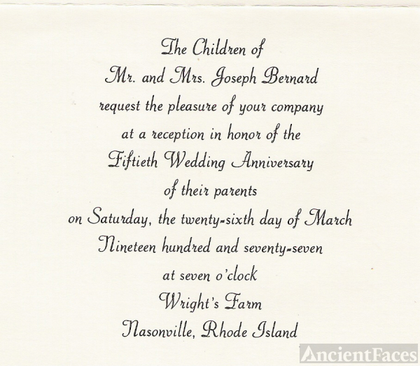 Joseph and Cedulie Bernard 50th Anniversary Invitation