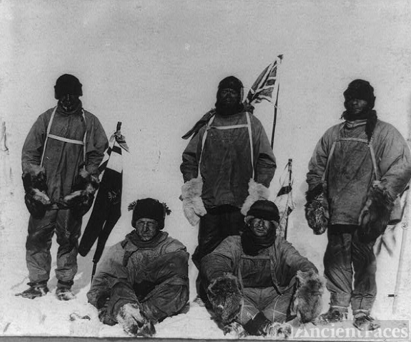[Members of the Terra Nova expedition at the South Pole:...