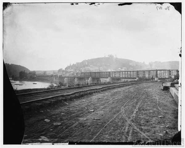 [Harper's Ferry, W. Va. View of the town and railroad...