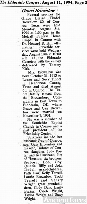 Obituary of Grace E. Tindell Brownlow