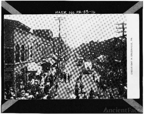 16. Photocopy of postcard. DOWNTOWN GREENVILLE ON CIRCUS...