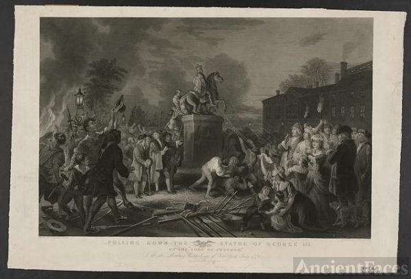 "Pulling down the statue of George III by the ""Sons of..."