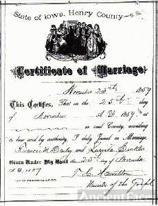 Dailey/Sickler Marriage Certificate