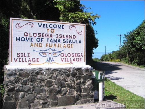 A sign of the villages of Olosega & Sili
