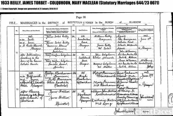 James Torbet Reilly wedding certificate