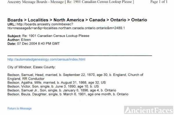 1901 Canadian census Lookup