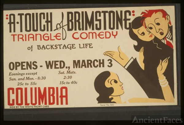 """A touch of brimstone"" - triangle comedy of backstage life"