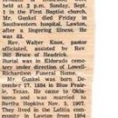 Obituary notice of my great-uncle, Fred Gunkel