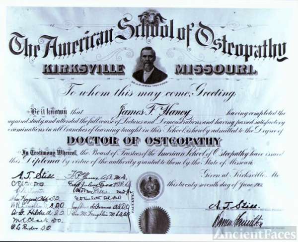 James Ford Haney's Diploma 1901 Kirksville, MO