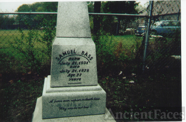 Close Up Of The Tombstone of Sam Bass, Outlaw