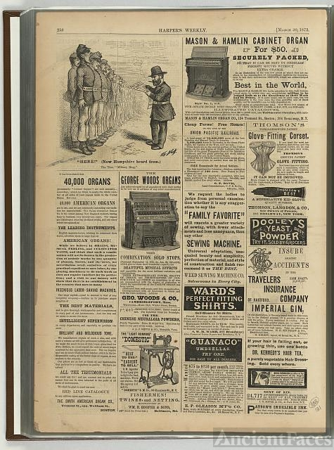 [Last page of March 10, 1872 issue showing advertisements...