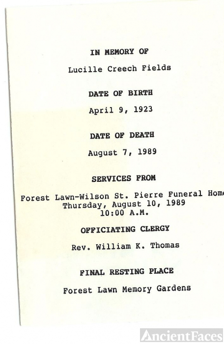 Funeral Card - Lucille Marie {Dyer} Wright