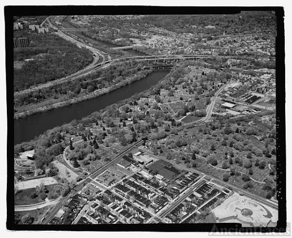 AERIAL VIEW, LAUREL HILL CEMETERY (LEFT) AND MOUNT PEACE...