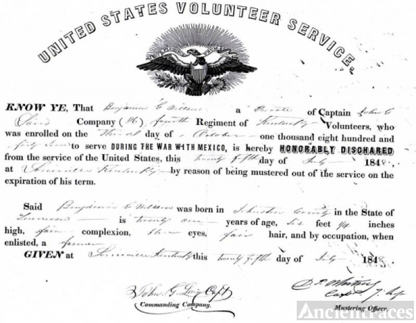 Benjamin G Willson Mexican War Honorable Discharge