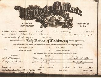 Donna Sue Crull Marriage Certificate