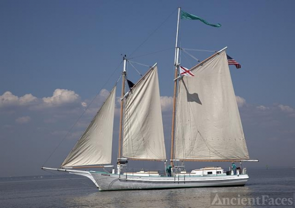 "Schooner ""Joshua"" sailing on Mobile Bay, Alabama"