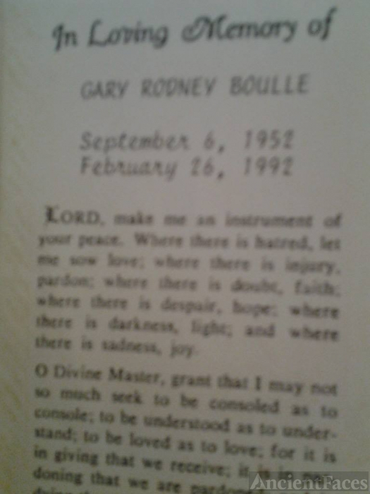 G R Boulle funeral card