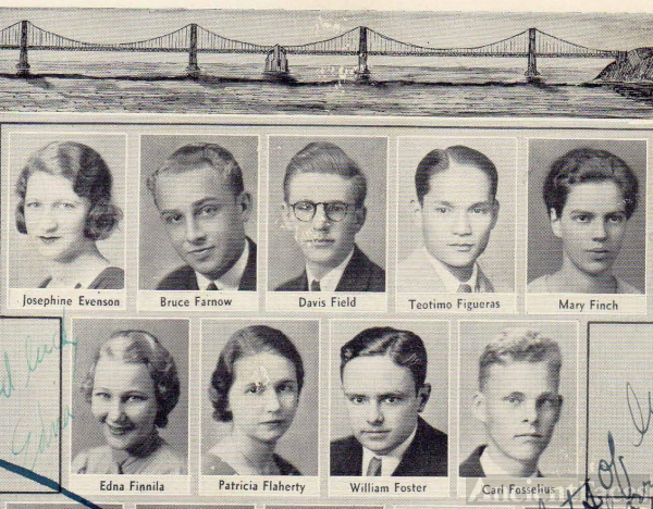 Josephine Evenson and Lowell High Seniors, 1933
