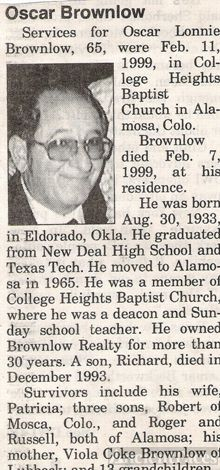Obituary for Oscar Lonnie Brownlow of Alamosa, Co.