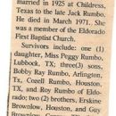 1981 Obit of Alvis Brownlow Rumbo of Eldorado, OK
