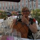Ellen Ourom at a restaurant in Trieste, Italy