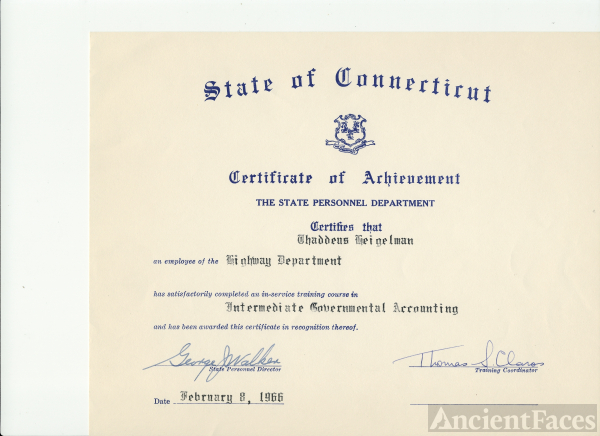 Thaddeus Heigelman Certificate 1966 Connecticut