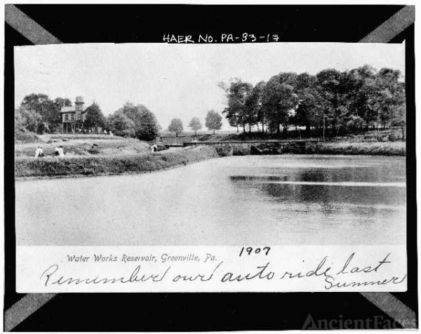 17. Photocopy of postcard. GREENVILLE WATERWORKS...