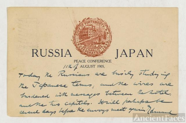 "[Postcard with printed words ""Russia, Japan, Peace..."