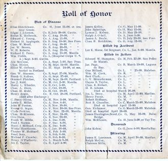 Honor Roll for Dead Spanish War 1899 w/List of Names