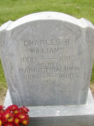 Gravestone Charles H. Williams & Harriet Baldwin