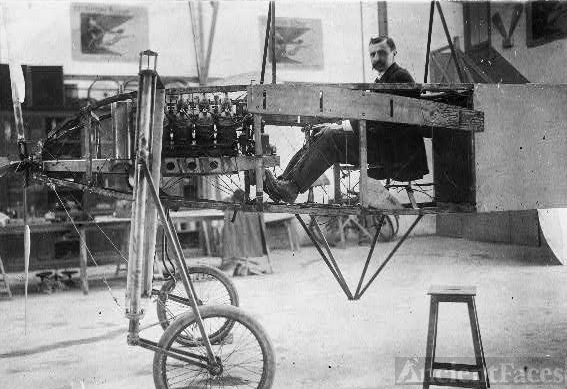 [Louis Blériot at the helm of his monoplane, furnished...